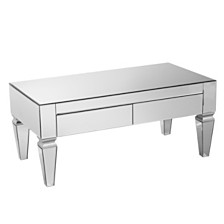 Darien Contemporary Mirrored Rectangular Cocktail Table, Quick Ship