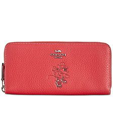 COACH Minnie Motif Boxed Slim Accordion Zip Wallet in Pebble Leather