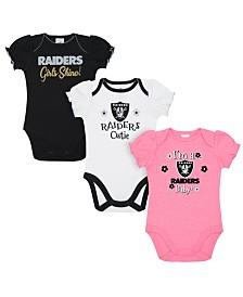 Gerber Childrenswear Oakland Raiders 3 Pack Creeper Set, Infants (0-9 Months)