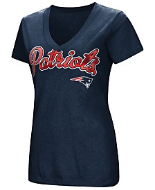 G-III Sports Women's New England Patriots Tailspin Script Foil T-Shirt