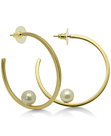 GUESS Gold-Tone Imitation Pearl Open Hoop Earrings