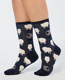Hot Sox Women's Black Sheep Fashion Crew Socks