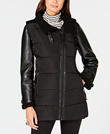 Calvin Klein Mixed-Media Hooded Puffer Coat