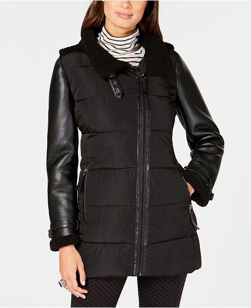 77ff6cc609fce Calvin Klein Mixed-Media Hooded Puffer Coat   Reviews - Coats ...