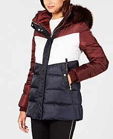 Vince Camuto Faux-Fur-Trim Colorblocked Puffer Coat