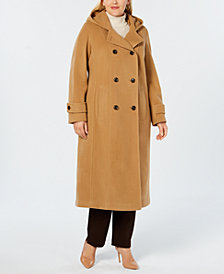 Anne Klein Plus Size Hooded Maxi Coat