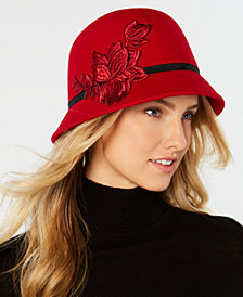 Nine West Flower-Appliqué Wool Felt Cloche