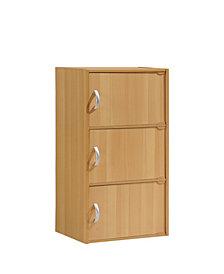 3-Shelf, 3-Door Bookcase in Beech