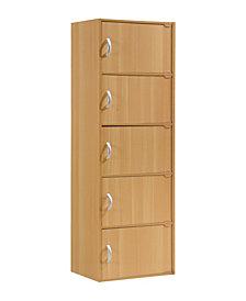 5-Shelf, 5-Door Bookcase in Beech
