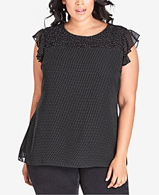City Chic Trendy Plus Size Dotted Smocked Top