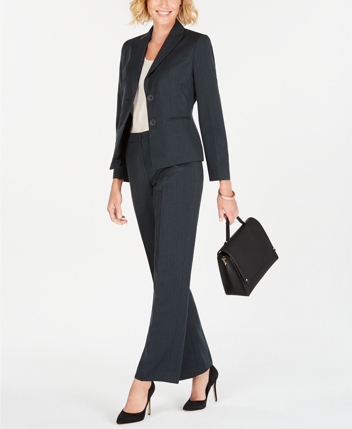 Le Suit Two-Button Striped Pantsuit