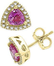 EFFY® Pink Sapphire (1-1/8 ct. t.w.) & Diamond (1/8 ct. t.w.) Trillion Stud Earrings in 14k Gold