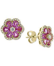 EFFY® Pink Sapphire (2-7/8 ct. t.w.) & Diamond (1/3 ct. t.w.) Flower Stud Earrings in 14k Gold