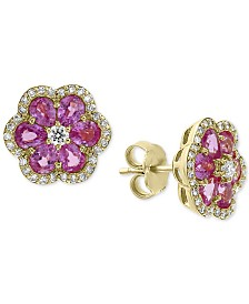 EFFY® Pink Sapphire (2-7/8 ct. t.w.) & Diamond (1/3 ct. t.w.) Flower Stud Earrings in 14k Gold