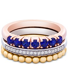 3-Pc. Set Lab-Created Sapphire (5/8 ct. t.w.) & White Sapphire (1/10 ct. t.w.) Stack Rings in Sterling Silver, Gold-Plate & Rose Gold-Plate