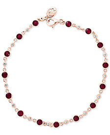 EFFY® Ruby (2 ct. t.w.) & Diamond (1/6 ct. t.w.) Bracelet in 14k Rose Gold