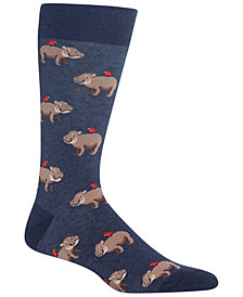 Hot Sox Men's Hippo Crew Socks