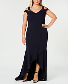 Adrianna Papell Plus Size Cold-Shoulder Gown