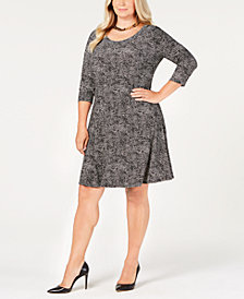 Anne Klein Plus Size 3/4-Sleeve Shirt Dress