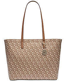 DKNY Bryant Sutton Leather Zip Carryall Signature Tote, Created for Macy's