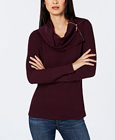 Tommy Hilfiger Cowl-Neck Thermal Top, Created for Macy's