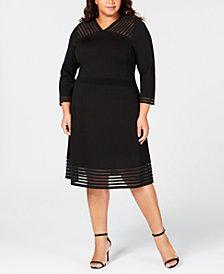 Calvin Klein Plus Size Illusion-Trim A-Line Dress