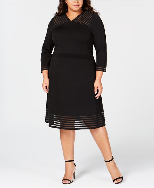 Calvin Klein Plus Size Illusion-Trim A-Line Dress & Reviews ...