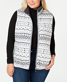 Karen Scott Plus Size Fair-Isle Stand-Collar Vest, Created for Macy's