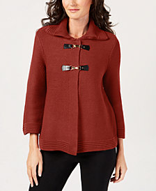 JM Collection Petite Wing-Collar Buckle-Front Sweater, Created for Macy's