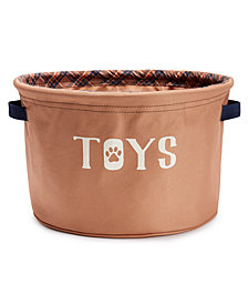"House of Barker Fabric Toy Storage -Brown 12"" Diameter X 8"" High"