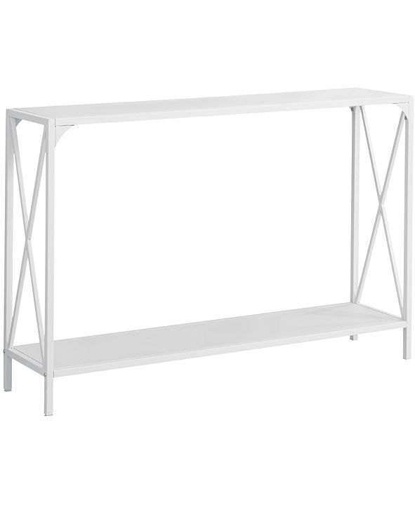 "Monarch Specialties 48""L Metall Hall Console Accent Table in White"