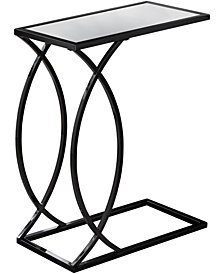 Monarch Specialties Black Nickel With Mirror Top Edgeside Accent Table