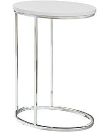 Monarch Specialties Chrome Metal Oval Edgeside Accent Table in Glossy White