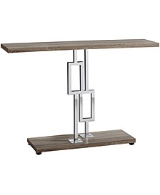 """Chrome Metal 48""""H  Console Accent Table in Dark Taupe"""