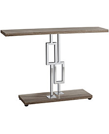 "Monarch Specialties Chrome Metal 48""H  Console Accent Table in Dark Taupe"