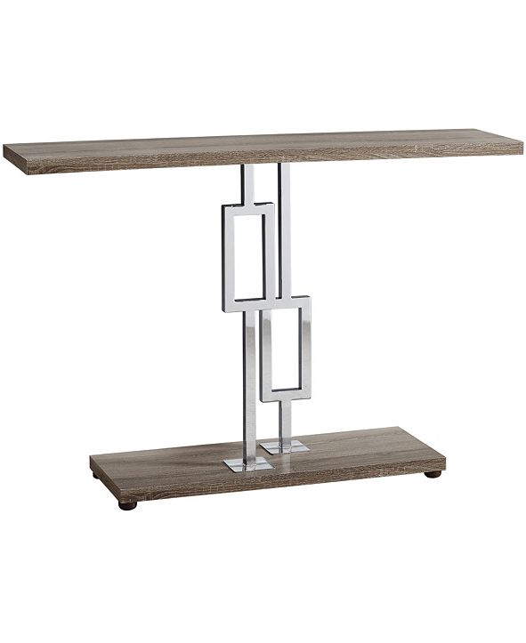 """Monarch Specialties Chrome Metal 48""""H  Console Accent Table in Dark Taupe"""