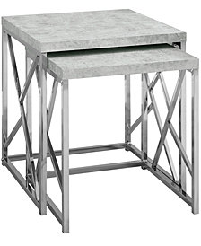 Monarch Specialties Chrome Metal 2Pcs Set  Nesting Table in Grey Cement