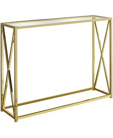 "Gold Metal Tempered 42""L Console Accent Table in Gold"