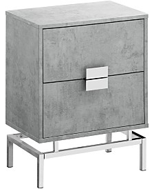 "Monarch Specialties Chrome Metal 24""H Night Stand Accent Table in Grey"