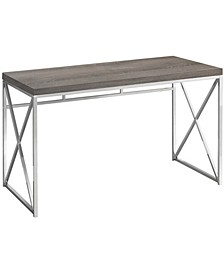 "48""L Chrome Metal Computer Desk in Dark Taupe"