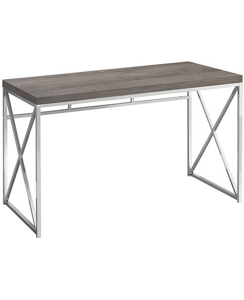 "Monarch Specialties 48""L Chrome Metal Computer Desk in Dark Taupe"