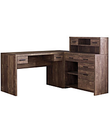 Monarch Specialties L/R Facing  Wood Grain Computer Desk in Brown