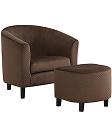 Monarch Specialties Quilted 2 Pcs Set Accent Chair in Dark Brown