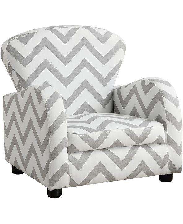 Monarch Specialties Juvenile Chair - Grey Chevron Fabric