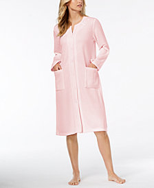 Miss Elaine Quilted Embroidered Snap-Front Robe