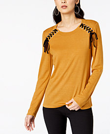 I.N.C. Lace-Up Scoop-Neck Top, Created for Macy's