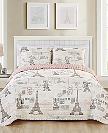 Carte Postale Reversible 3-Pc. King Quilt Set