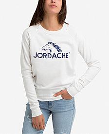 Jordache Madison Distressed Logo Graphic Sweatshirt