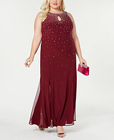 Morgan & Company Trendy Plus Size Studded Gown