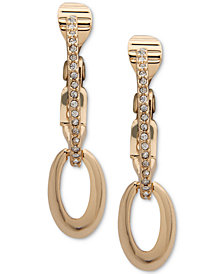 Anne Klein Pavé & Hoop E-Z Comfort Clip-On Drop Earrings